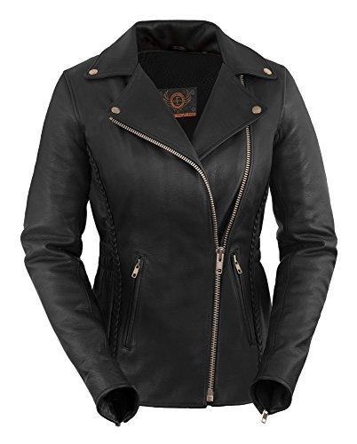 True Element Womens Premium Braided Motorcycle Leather Jacket (Black, Size L)