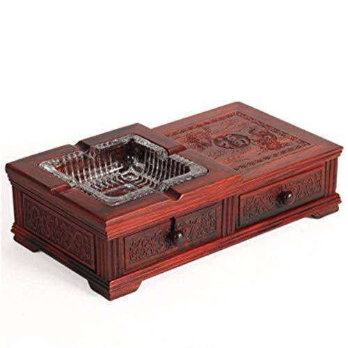 Cenicero, YNuo Cenicero artesanías de talla de madera de palo de rosa sólido de color rojo caja de cigarrillo regalo largo de caoba de negocios El caso del cigarrillo se pueden colocar en el compartim