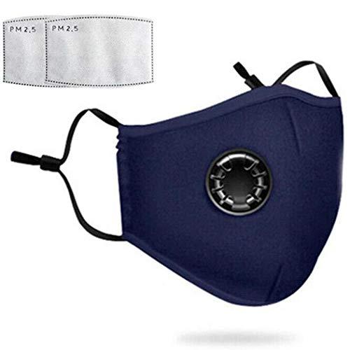 Pongaps Unisex Anti-Smog Aktivkohle Radfahren Sonnenschutzmaske Atemschutzmaske Maske Gr. 85, marineblau