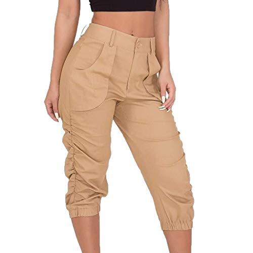 Laisla fashion Pantalones Cargo para Mujer Pantalones Clásico Militares Casuales Pantalones De Combate del Ejército Pantalones Sólidos Pantalones De Bolsillo Moda 2020 Ropa De Mujer