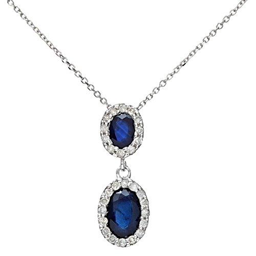 Naava Collar para Mujer de Oro Blanco 9K con Diamante y Zafiro