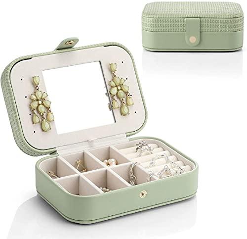 Recet Joyero para mujer, caja cuadrada para anillos, pendientes, collares, regalo ideal para mujeres (verde n.º 5)