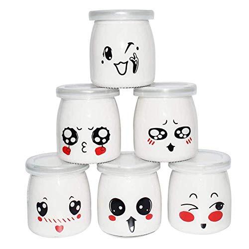 Vasos para Yogurtera 200ml Vasos de Repuesto Tarros Cristal Pequeños con Tapa PE para Yogures, Postres y Natillas, 6PC