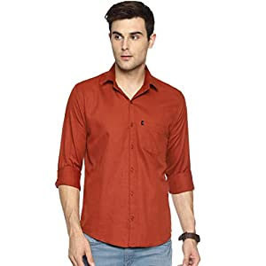LEVIZO 100% Cotton Plain Solid Casual Regular Fit Full Sleeves Shirt for Men