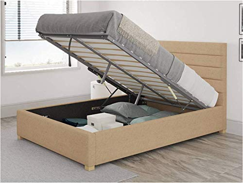 Brayden Studio Mraz Upholstered Ottoman Bed - Small Double (4') (Champagne)