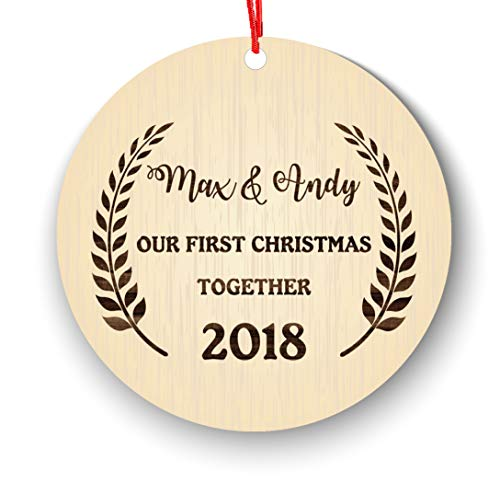 Our First Christmas Together Christmas Ornament Personalized, Rustic Wood Effect Farmhouse Collectible Keepsake New Couple Lover 2018-1st 2nd Ornament First Married Christmas, Newlywed 2018