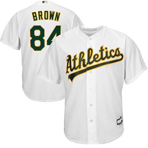 MLB X NFL Official Crossover Youth 8-20 Cool Base White Home Player Replica Jersey (Large 14/16, Antonio Brown Oakland Athletics)