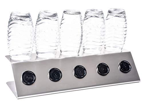 Streambrush First Class Abtropfhalter aus Edelstahl Abtropfständer für Sodastream Crystal - Flaschenhalter mit praktischer Deckelhalterung | Made in Germany (5 X Class)
