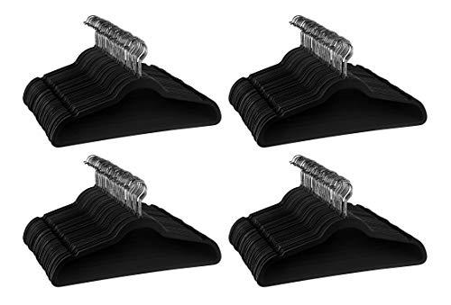 JUNELILY Multi-Pack Non Slip Velvet Hangers Heavy Duty Clothes Hangers - Black 200 Pack