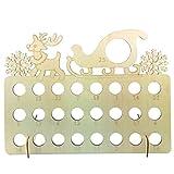 Calendario de Adviento de madera con forma de copo de nieve, cuenta regresiva, soporte para chocolate