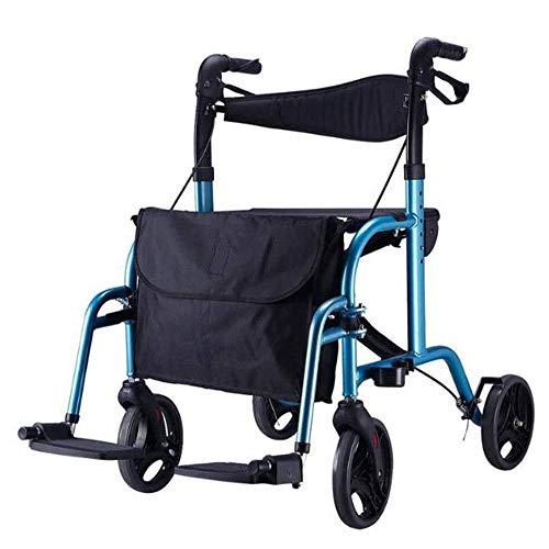 QBYLYF Opvouwbare transportrolstoelen, 2-in-1, rollator, met voetsteunen van aluminium, voor senioren Walker Folding overdracht rolstoel