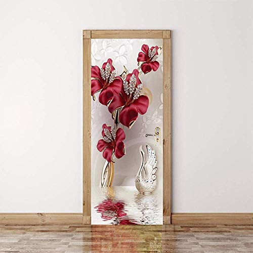 ZZDGFC 3D rote Blumen Türtapete selbstklebend TürPoster Fototapete Türfolie Poster Tapete 90 * 210 cm