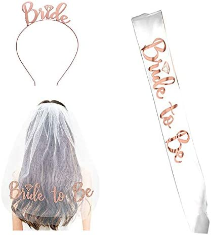 Bride to Be Set 3pack Bride to Be Sash Headband Tiara Shoulder Length Veil Bachelorette Party product image