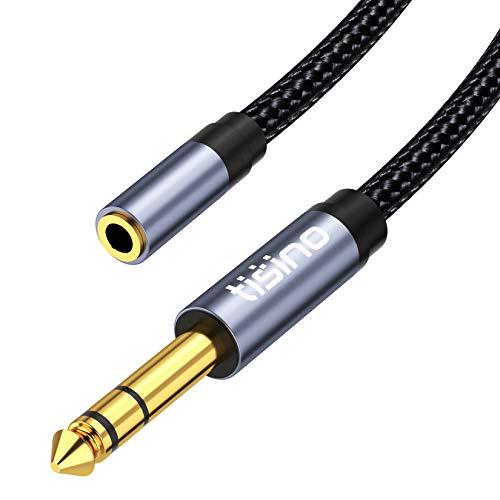 TISINO Adaptateur jack 6,35 mm vers 3,5 mm pour amplificateurs, ampli de guitare, clavier, piano, home cinéma, casques, haut-parleurs, etc. - 1,5 m