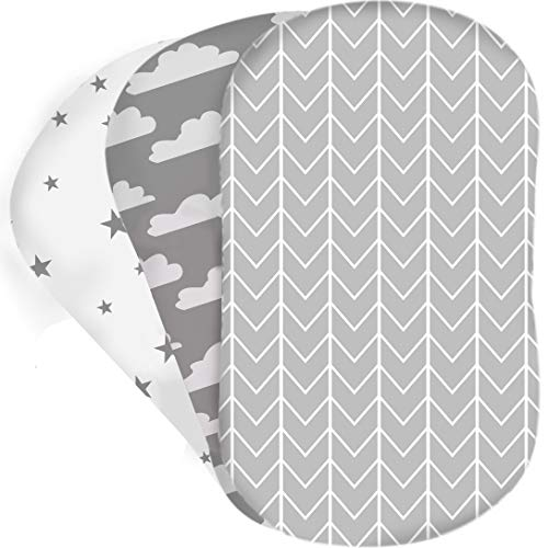 Bear's Little Fish 3-Pack of Bassinet Sheets |100% Hypoallergenic Jersey Cotton |Gender Neutral Grey and White for Baby boy or Girl |Fitted Crib Sheets for Oval, Hourglass and Rectangular Mattress