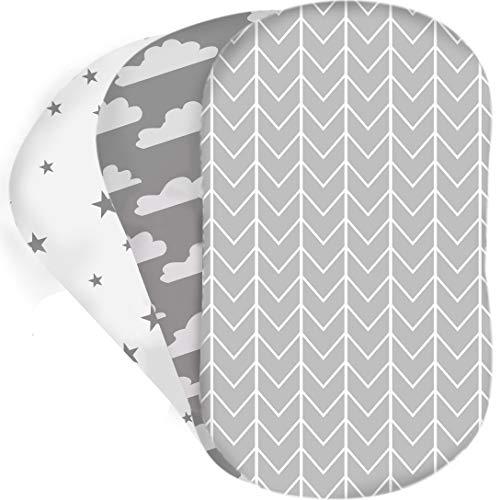 Bear's Little Fish- Spannbetttuch für die Wiege - 3er-Pack aus 100 % Atmungsaktiver Baumwolle für Junge und Mädchen, Passend für die Meisten Bettlakenunterlagen