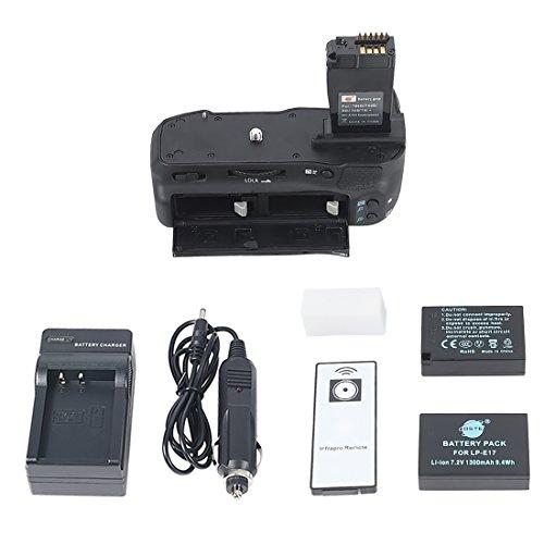 DSTE® Remoto Vertical Batería Apretón Titular Compatible con Canon EOS 760D 750D IX8 T6S T61 DSLR Cámara Fotográfica como BG-E18H con 2-Pack LP-E17 Batería Cargador