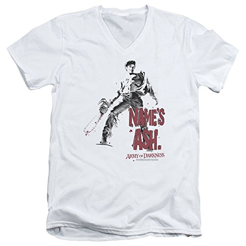 Army of Darkness Cult Horror Film Name's Ash Chainsaw Adult V-Neck T-Shirt Tee