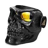 SMILE Gafas de Moto Máscara Calavera Máscara Modular Gafas Gafas de Motocross Motocicleta Abierta Medio Casco,Black,bluelens