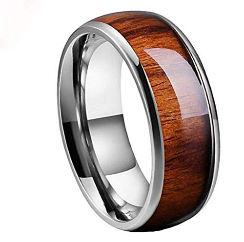 GWLDV Herrenring/Trauringe,Parkett Wolfram Stahlringe,Hawaii,Mahagoni,Unisex Hochzeit Verlobungsring,10