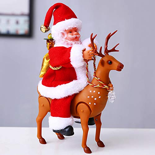 YHCH Christmas Santa Claus Decoration Christmas Figurine Gifts&Decor Singing and Dancing Santa Claus red A