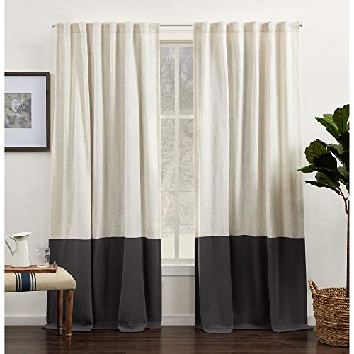 Exclusive Home Curtains Venice Color Block Light Filtering Hidden Tab Top Curtain Panels, 54x84, Grey