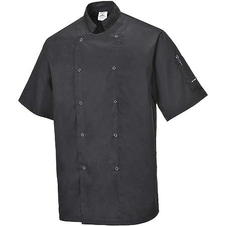 Portwest Cumbria Chefs Jacket, Colour: Black, Size: L, C733BKRL
