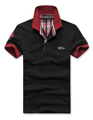 [Make 2 Be] ポロシャツ メンズ カジュアル 半袖 襟元 チェック柄 バイカラー チームカラー 卓球 スポーツ ゴルフウェア ゴルフ ワンポイントロゴ 夏 クールビズ 通気性 速乾 MF19 (02.Black_XL)