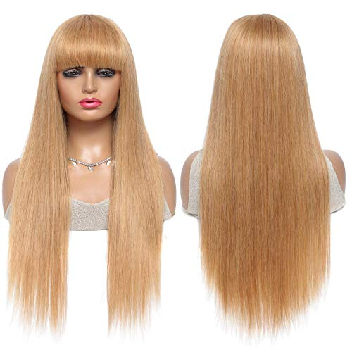 Honey Blond Human Hair Wigs with Bangs Brazilian Straight Virgin Hair Gold Wig Glueless None Lace Wigs for Women (20 Inches, #27 Bangs Wig)