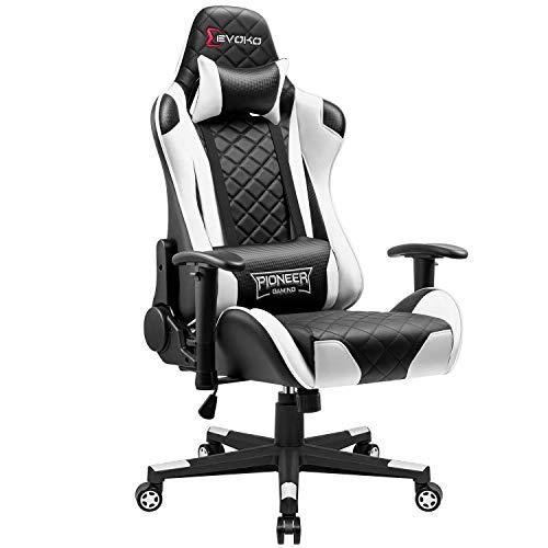 JUMMICO Gaming Stuhl Gamer Bürostuhl Ergonomischer Racing Drehstuhl Höhenverstellbarer Schreibtischstuhl mit verstellbaren Armlehnen (Weiß)