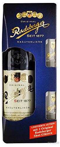 Original Radeberger Kräuterlikör Geschenkpack mit 2 Gläsern 0,7 Liter PiHaMi® Gastro