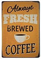 フレッシュコーヒーレトロレトロスズ看板-12X8