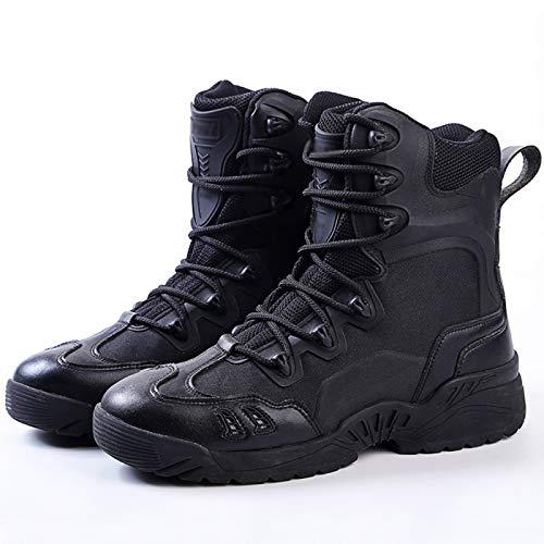 FOGUO Botas Altas para Hombre Zapatos Ultra Antideslizantes Senderismo Escalada Botas De Aventura Usable Táctico para Caminar Camuflaje Militar Zapatos De Soldado,Black-39