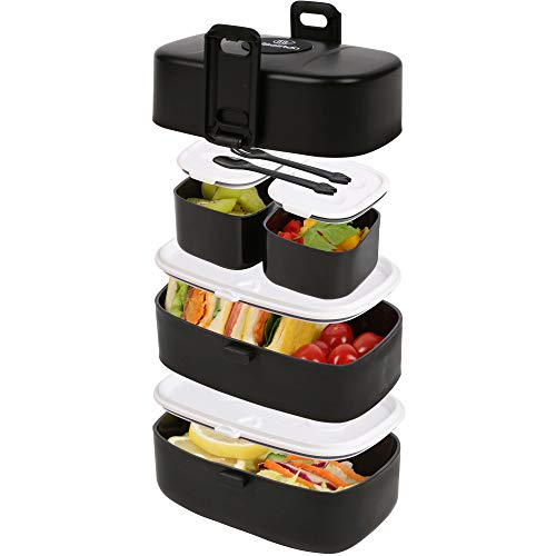 Wagindd Bento Box - Leak-Proof Stacking Lunch Boxes with 4 Compartments - BPA-Free, Dishwasher & Microwave Safe Toddler & Adult Lunchbox, Eco-Friendly Lunch Containers For Kids And Adults (Black)