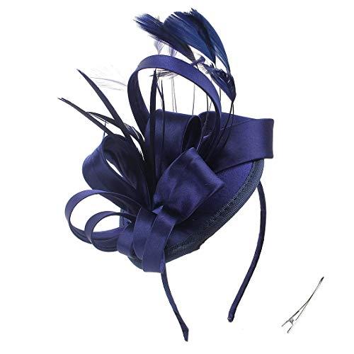 FELIZHOUSE Fascinator Hats Kentucky Derby Hat Tea Party Feather Hair Clip Bridal Headpieces Ascot Headband for Women (#1 Satin Navy Blue)
