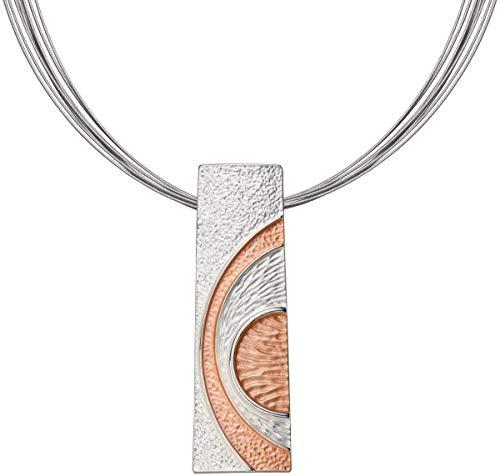 Perlkönig Kette Halskette | Damen Frauen | Rosegold Silber Farben | Kreise Rechtecke | Nickelabgabefrei