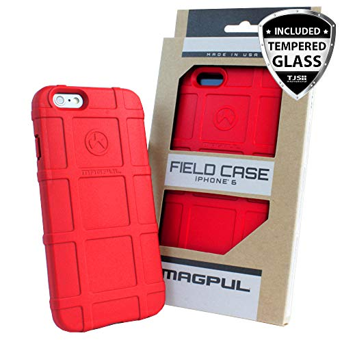 Case for iPhone 6s Plus/iPhone 6 Plus, with TJS [Tempered Glass Screen Protector] Magpul [Field] MAG485-RED Polymer Cover Retail Packaging Compatible Apple iPhone 6 Plus/6S Plus 5.5' (Red)