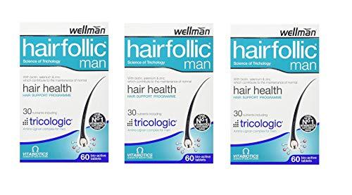 Vitabiotics Wellman Hairfollic Man - 60 Tablets (Pack of 3)