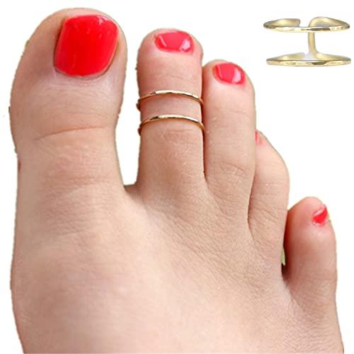 HOMEYU Anillo de Dedo Abierto Ajustable Relleno de Oro de 14k Talla única para la mayoría de los Dedos de los pies Anillos de Dedo Hawaianos para Mujeres