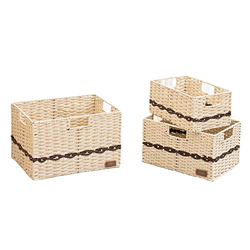 77SRF Storage Basket,Desktop Sorting Box Clothes Daily Necessities Iron Frame Structure Built-in Handle Hand Made Beautiful And Refined High Capacity Plant Fibres, 3 Pieces Combination SRF