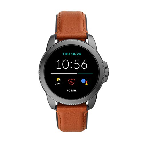 Fossil 44mm Gen 5E Stainless Steel and Leather Touchscreen Smart Watch, Color: Smoke, Brown (Model: FTW4055)