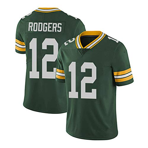 Aaron Rodgers # 12 Green Bay Packers Jersey de fútbol Jersey de Rugby para Hombre, Bordado Juegos de Manga Corta trining Deporte Unisex Fans Jerseys Camiseta Transpirable Limpieza repetible-Green-XL(