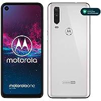 """Motorola One Action - Smartphone Dual SIM (Triple cámara: 12 MP + 5 MP y video de 16 MP con ultra gran angular, 128 GB/4 GB, Pantalla 6,3"""" FHD+, Android 9.0) - Color Blanco [Versión Española]"""