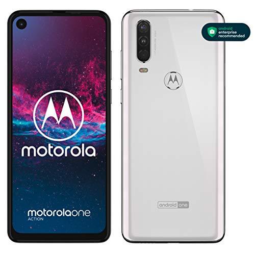 "Motorola One Action, Display CinemaVision 6.3"" FHD+, 128 GB Espandibili, Tripla fotocamera con Action Cam dedicata (12MP+16MP+5MP), Dual Sim, Android 9 Pie - Bianco"