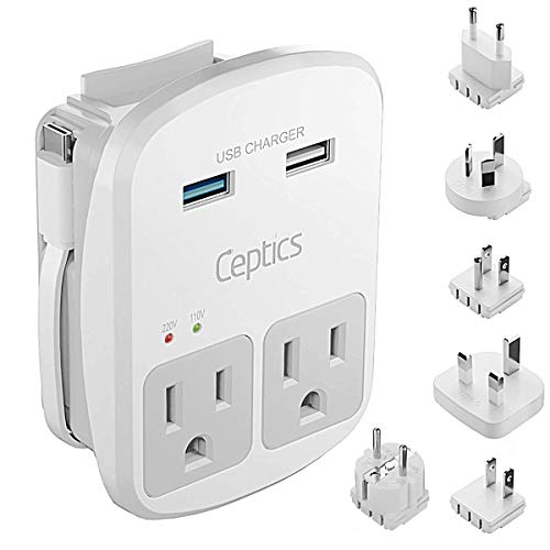 World Travel Adapter Kit by Ceptics - QC 3.0 2 USB + 2 US Outlets, Surge Protection, Plugs for Europe, UK, China, Australia, Japan - Perfect for Laptop, Cell Phones, Cameras - Safe ETL Tested
