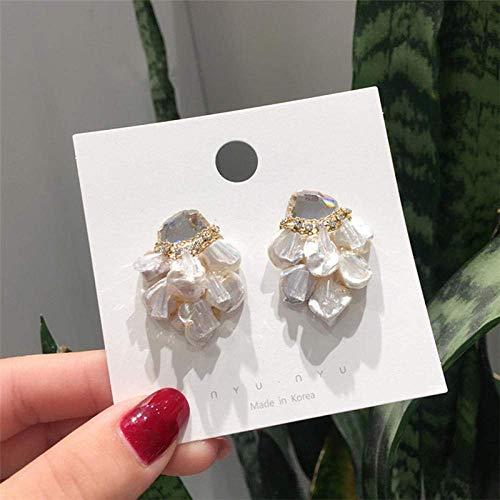 Simplicidad Elegante Pendiente Japonés Coreano Barroco Hecho a Mano Pendientes de Perlas de Agua Dulce Mujeres 's Brillante Cristal Joyas Moda, ZJ