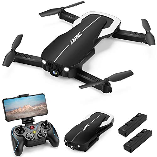 Drones with 1080P HD Camera for Adults, JJRC Foldable Drone with 2 Batteries, Optical Flow Positioning Quadcopter with Carrying Case for Beginners-Headless Mode,Altitude Hold(Black)…