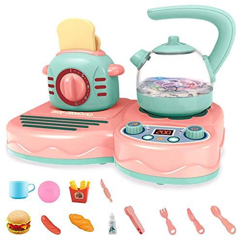Conjunto de desayuno con botella de agua y tostadora Play - Conjunto de cocina con luces y sonidos y simulaciones Play Fake Food - Educational Toy - Recomendado para mayores de 3 años ( Color : Pink )