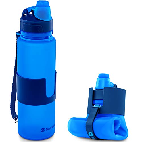 Nomader BPA Free Collapsible Sports Water Bottle - Foldable with Reusable Leak Proof Twist Cap for Travel Hiking Camping Outdoor and Gym - 22 oz (Vibrant Blue)