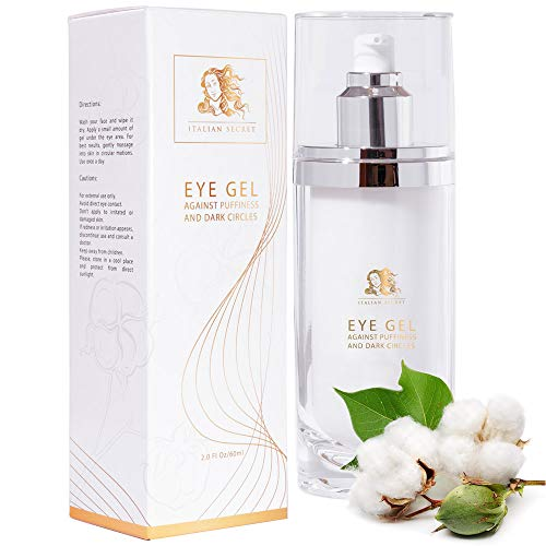 Anti Aging Eye Gel Cream - 2 Oz/60 ml - Made in Italy - Organic Cream Reduce Under Eye Dark Circles Puffiness Wrinkles Crows Feet Women Under Around Eye Firming Treatment for Bags Fine Line Day Night